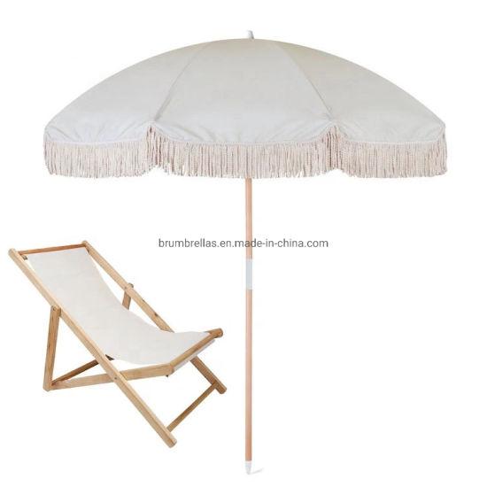 200cm Real Wooden Pole Custom Print Beach Umbrella with Tassels