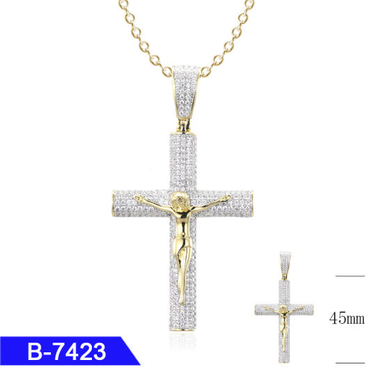Hip Hop Jewelry Sterling Silver Diamond Jesus Cross Pendant for Men pictures & photos