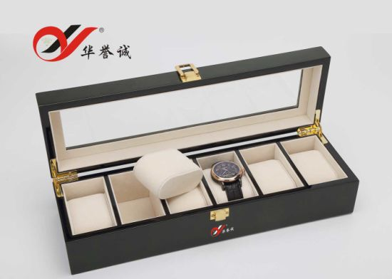 5 Slots Black Wooden Watch Box pictures & photos