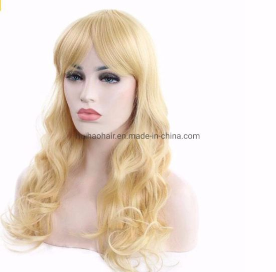 Custom Ladies Blonde French Lace and Elastic Net Base Human Hair Wig pictures & photos