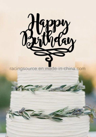 Happy Birthday Cake Topper Decoration Acrylic Pictures Photos