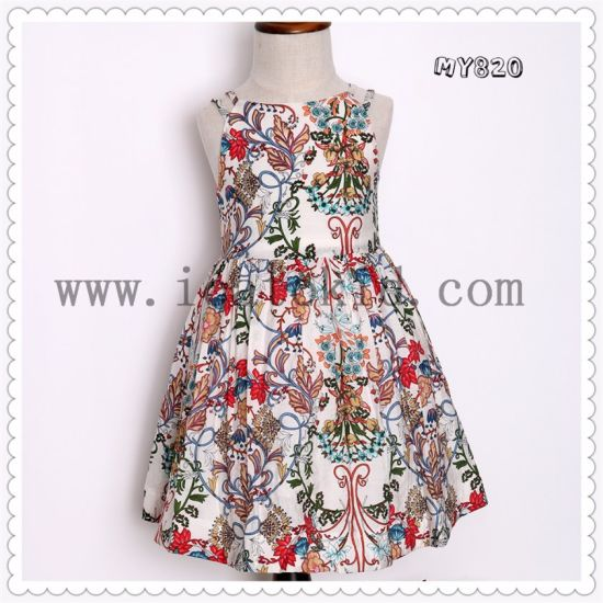 2017 Fashion Floral Pattern Girls Summer Dress Children Clothing