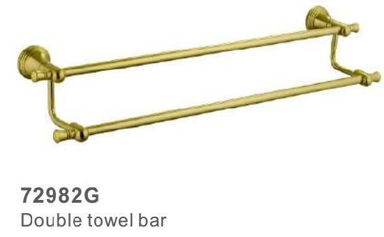72982g Bathroom Accessories Double Towel Bar With Gold Color