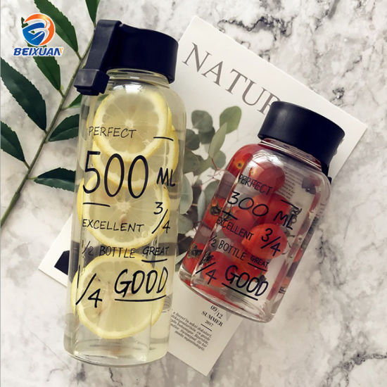 300ml Wholesale Promotional Gift Customized Creative Design Portable Transparent High Borosilicate Glass Drinking Water Bottle