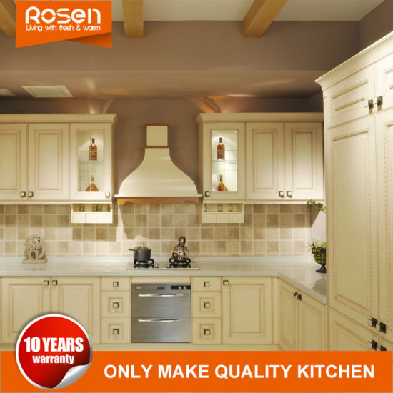 European Style White Mdf Solid Wooden Rta Kitchen Cabinets Chinese