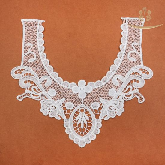 L60016 Fancy White Floral Motifs Lace Patterned Neck Patches for Stock Sell