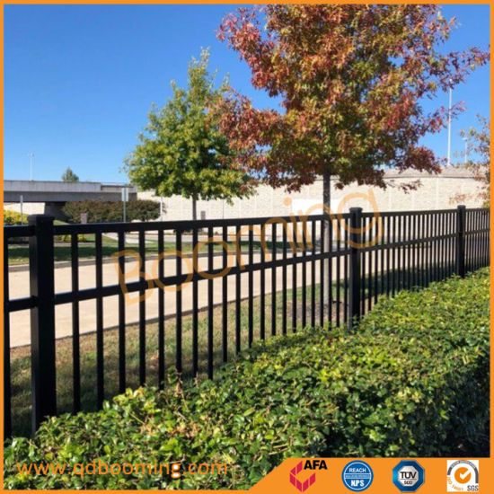 High Security Black Powder Coated Flat Top Fence Panel