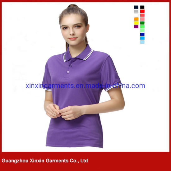 Womens 100% Cotton Plain Embroidered Sports Polo Shirt (P344)