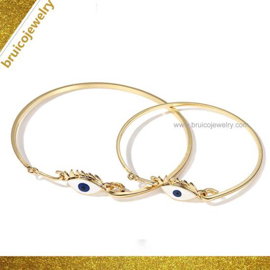 Elegant 18K Gold Jewellery Imitation Jewelry Bangle Popular Evil Eye Sterling Silver Bangle for Wholesale