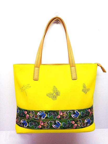 Large PU Material Ladies Shopping Bag with Chinese Embroidery (NO. 30205) pictures & photos