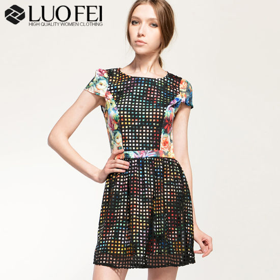 Print with Lace Women Apparel Manufacturers China - China Dress