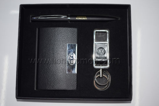 High End Business Gift Personal Logo Branding Pen Keyring Business Card Box Gift Set