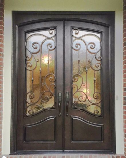 China Custom Wrought Iron Double Entry Door With Tempered Glass