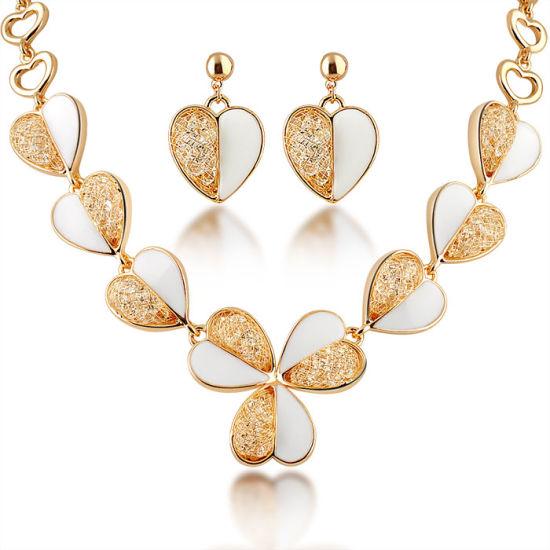 China Fashion Wedding Crystal Gold Plated Jewellery Set 18K Gold