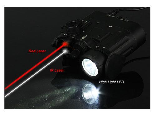 Tactical Flashlight Combo Dual LED Laser Red IR Illuminator Cl15-0088