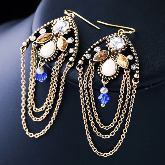 Popular Fashion Retro Diamond Studded Long Multi-Layer Alloy Women′s Earring pictures & photos