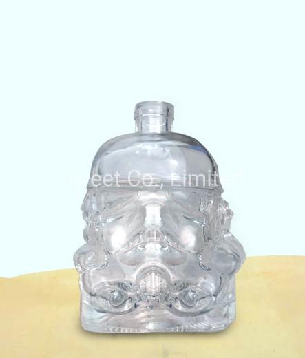 Irregular Shape Crystal Glass Transparent 750ml Gin Alcoholic Glass Bottle
