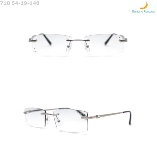 Fashionable Comfortable Anti-Fatigue Metal Rimless Glasses Reading Eyewear for Men