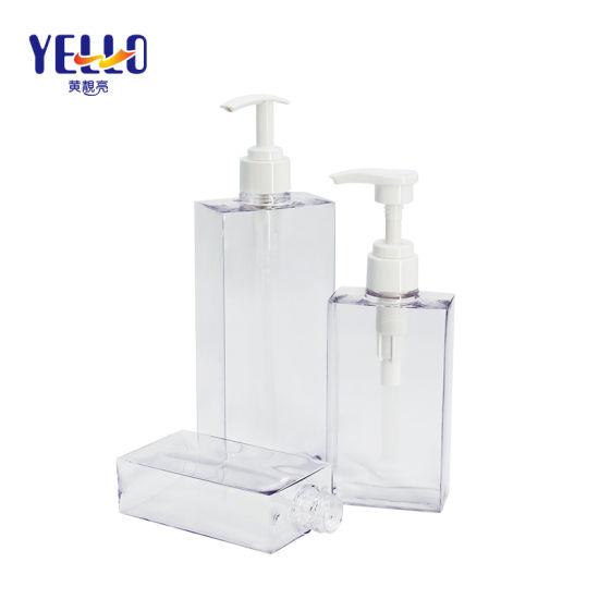 Factory High Quality Clear Square Plastic Hand Wash Shampoo Bottle 200ml 300ml 500ml