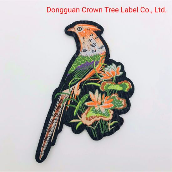 Delicate Laser Cut Woven Badge China Traditional Bird Shape