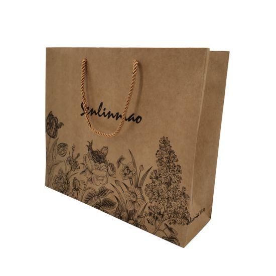 Custom Logo Print Kraft Paper Bags Packaging for Shoes