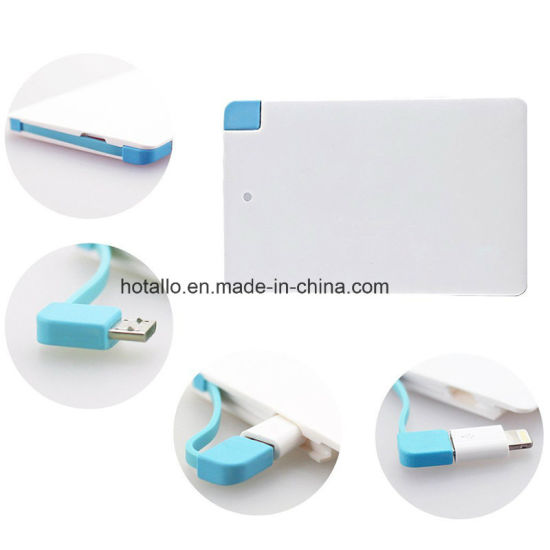 Hotsel Portable Card Shape Powerbank Pb06 with iPhone Addaptor and Fixed Micro Cable pictures & photos