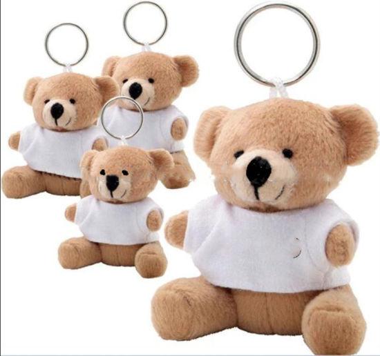 Custom Wholesale Assorted Plush Animals Toy Keychain Wearing T-Shirt