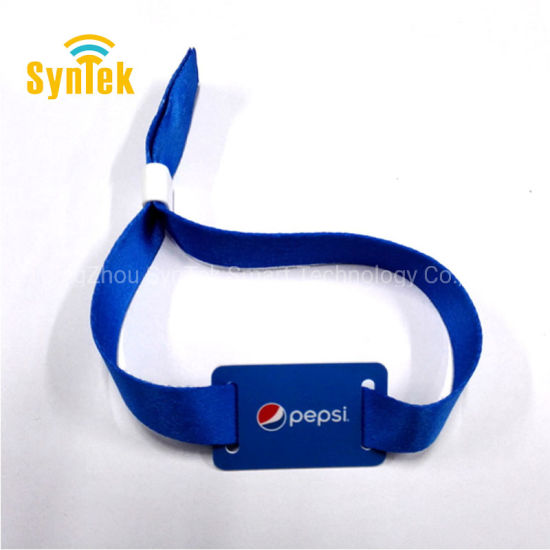 Wholesale Custom Logo Polyester Material Fabric Woven RFID Wristband with Plastic Slide