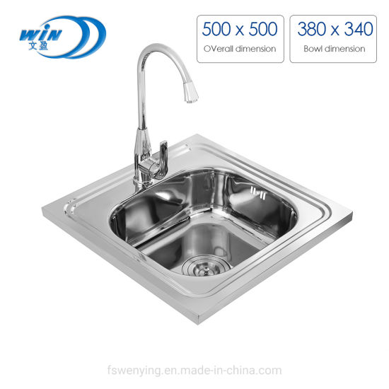 One Bowl Polish Above Counter Stainless Steel Wash Basin Kitchen Sink