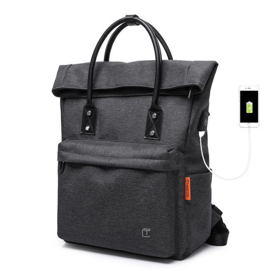 Big Capacity Waterproof Double Shoulder Hand-Held Business Leisure Fashion Travel iPad Laptop Computer Notebook Holder Backpack Pack Bag with USB (CY7902)