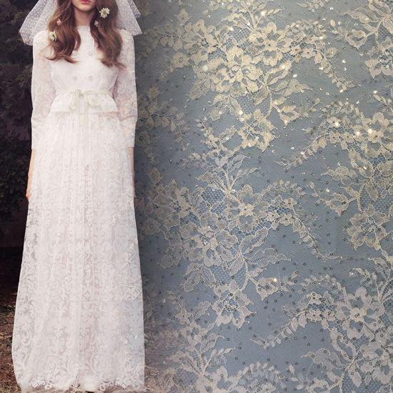 Latest Design Tulle Shiny Sequins Bridal Lace Wedding Dress Fabric