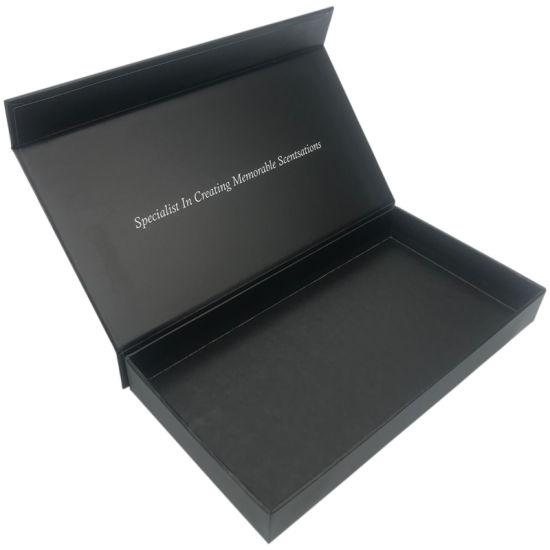 Custom Logo Embossed UV Matte Black Rigid Magnetic Closure Packaging Paper Gift Box