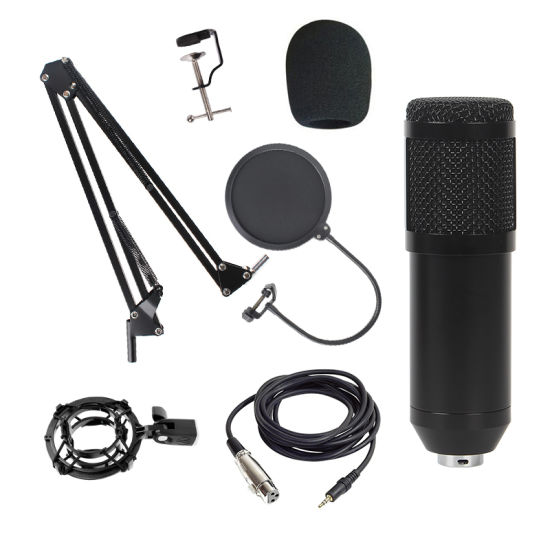 Bm800 Condenser Microphone with Shock Mount Scissor Stand Filter Recording Live Broadcast for Audio Recorder