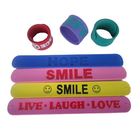 Personalized Cartoon Logo Printed Silicone Slap Bracelets for Children's Gift