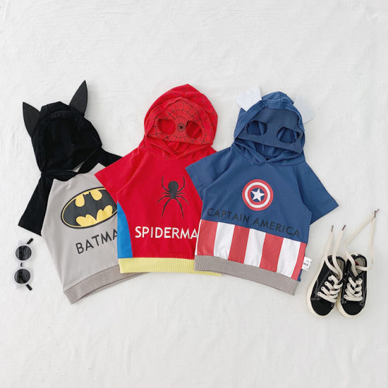 Children Clothing Cartoon T-Shirt Hooded Short Sleeves Baby Clothes