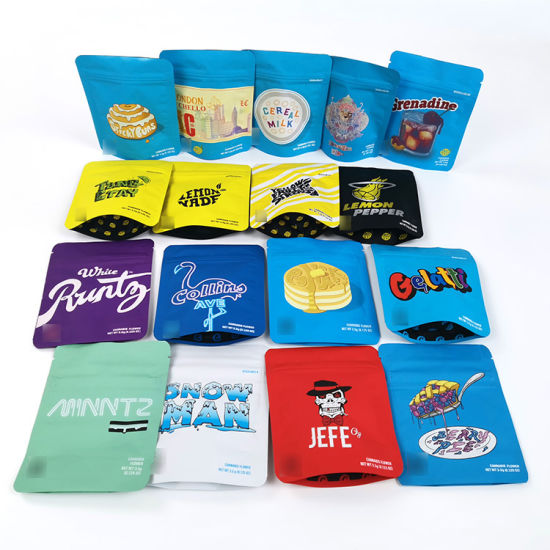 Low MOQ Food Packing Flat Stand up Paper Pouch with Ziplock Notch Moisture Proof Mylar Tobacco Coffee Bag