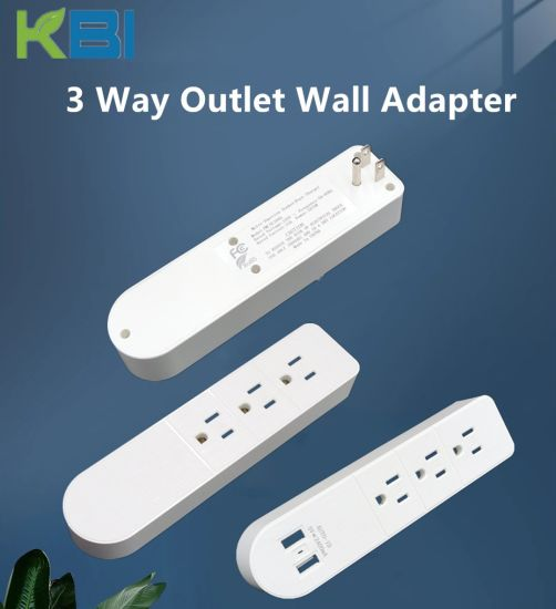 Customized 3 Way Outlet with QC 3.0 Quick Charging Us Electrical Wall Plug Wall Adaptor