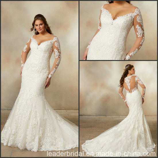 China Long Sleeves Bridal Gowns V Neckline Lace Plus Size Wedding