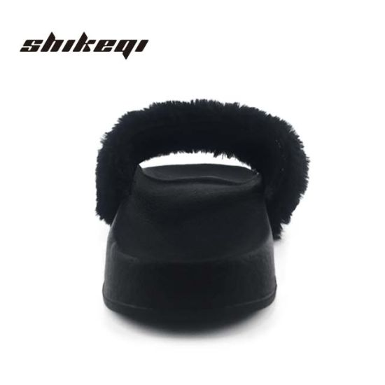 3ad4b454f013 China Shikeqi Black Furry Sandals Slides Shoes Fur