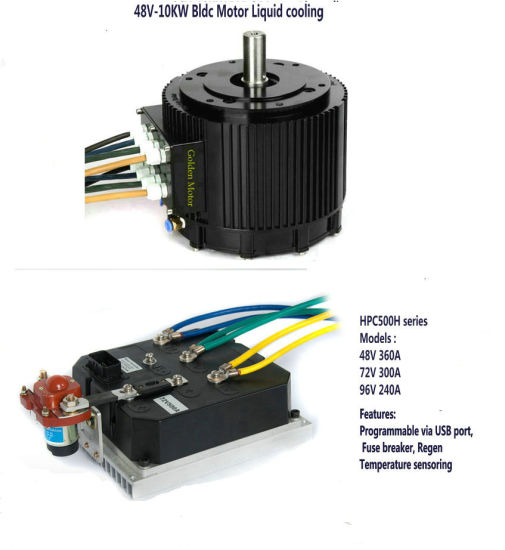 China 96V 10kw Water Cooled BLDC Motor Kit for Electric Car