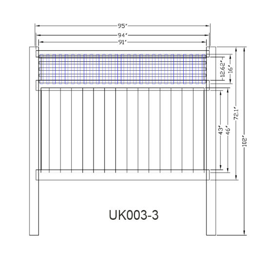 6' X 8' Rackable Vinyl Private Fence with Ornamental Top