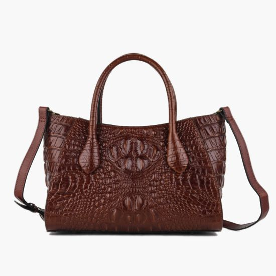 9224 Retro Genuine Leather Handbag Crocodile Leather Shoulder Bag