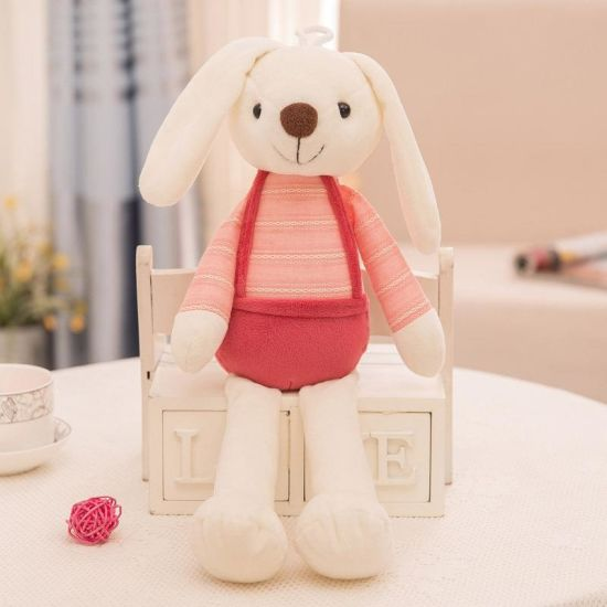 Wholesale Customized Soft Stuffed Plush Rabbit Toy with Suspender Trousers