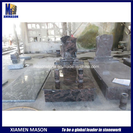 Indian Aurora Granite Tombstones with Carving Headstone