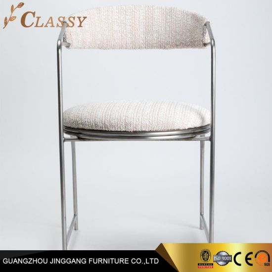 Modern Luxury Hotel Dining Chair with Plated Power Coated Stainless Steel and Fabric