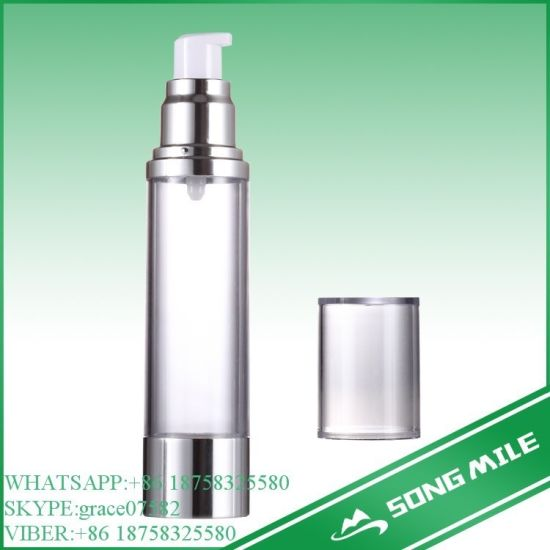 50ml Silver/ Gloden Airless Bottle for Cosmetic Lotion Pump pictures & photos
