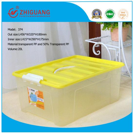 20L Transparent Wholesale Household Handled PP Storage Box Plastic Boxes