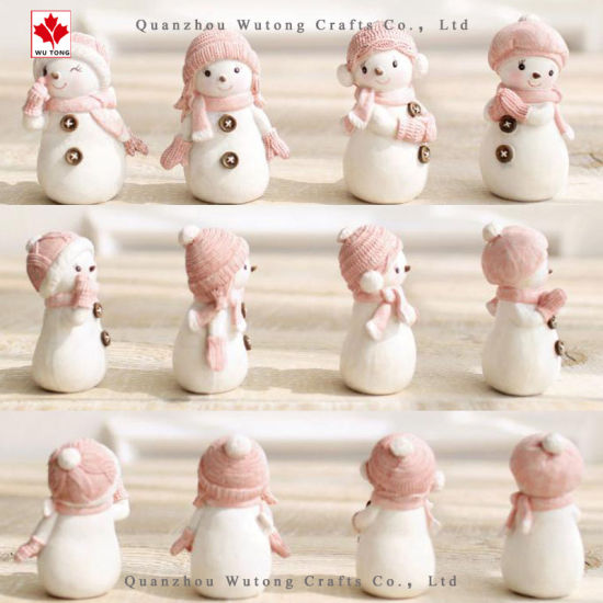OEM Cute Christmas Ornaments Wholesale Gifts Resin Figurines Snowman  Decoration