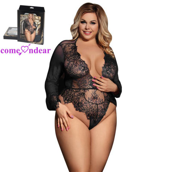 in Stock Accept OEM Plus Size Exquisite Lace Sleeve Bodysuit pictures & photos
