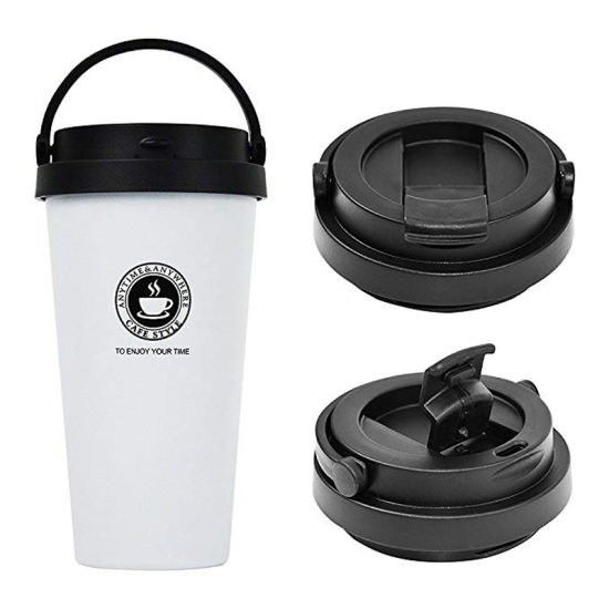 500ml Creative Coffee Mug 304 Stainless Steel Double Wall Vacuum Insulated Travel Mug Wide Mouth Tumbler Tea Cup with Lid